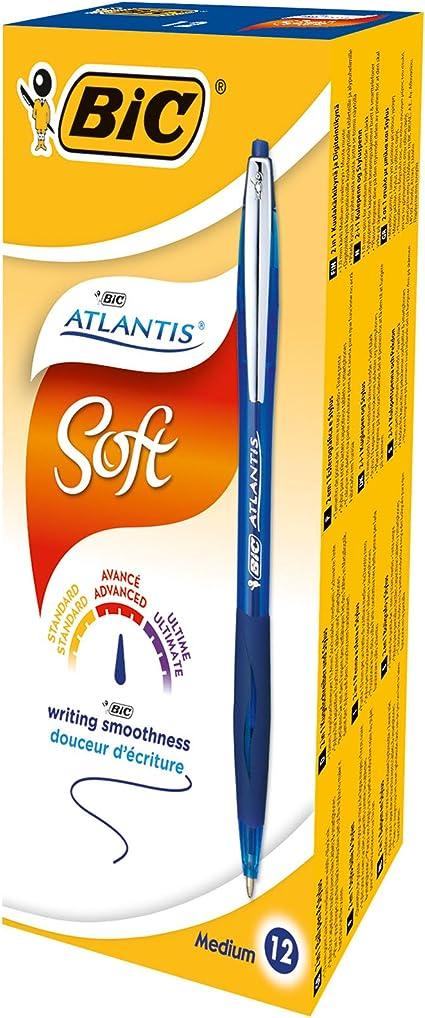 Blister de 3+1 - Couleurs Assorties BIC Atlantis Soft Stylos-Bille R/étractables Pointe Moyenne 1,0 mm