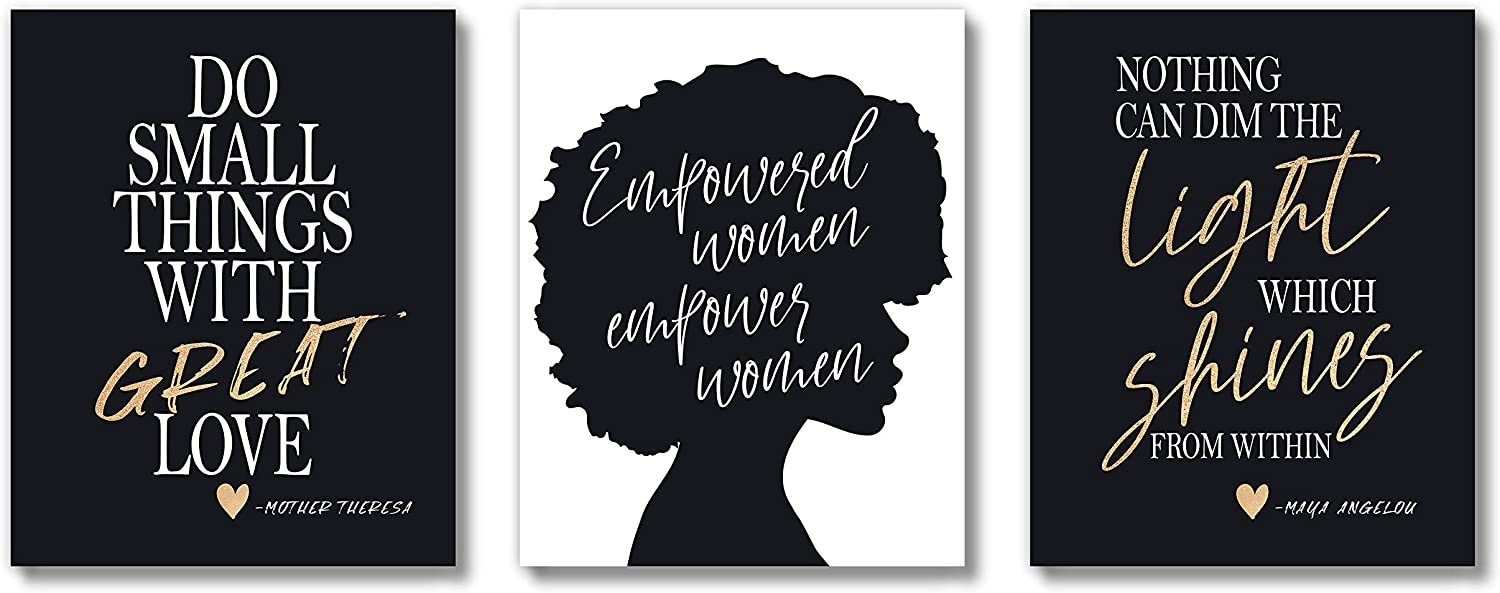 Brooke & Vine African American Black Woman Wall Decor Art Prints (UNFRAMED 8 x 10 Set of 3) Women Teen Girl Room Inspirational Posters - Home, Office, Bedroom, Dorm or Cubicle - Empowered Women