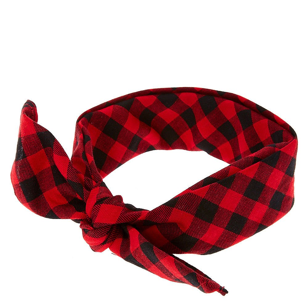 Claire's Girl's Red & Black Plaid Bandana Headwrap Black/Red Claire' s Girl' s Red & Black Plaid Bandana Headwrap Black/Red
