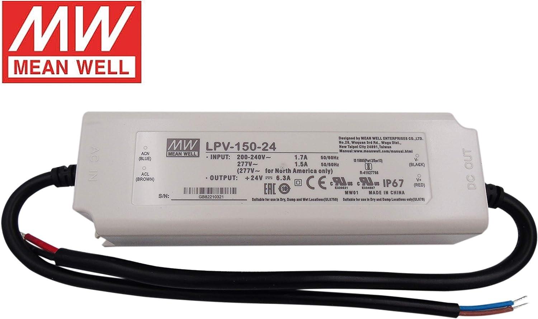 Transformador o Fuente de Alimentacion MEANWELL LPV-150-24V 150W 24V Impermeable IP67 AC/DC Externo