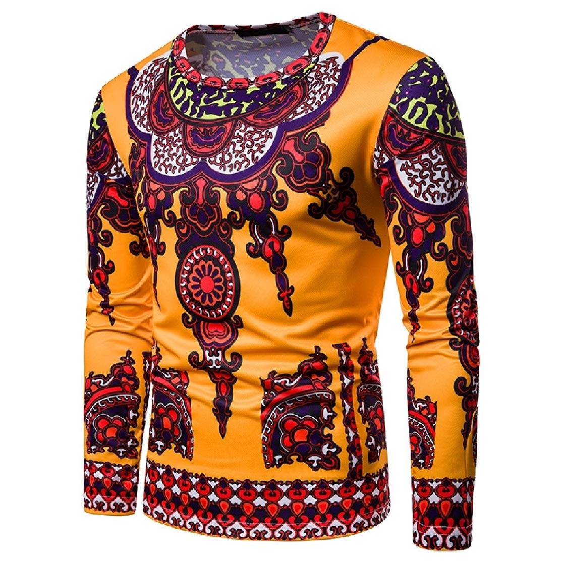 Comaba Mens Long-Sleeve 3D African Navajo Floral Dashiki Round Collar T-Shirt Top