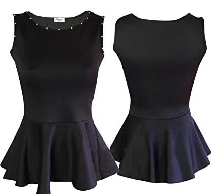 350058d0d3157 New Womens Black Studded Peplum Cute Tops Stretch Sequin Top Dress TShirts  Size 8 16 (10)  Amazon.co.uk  Clothing