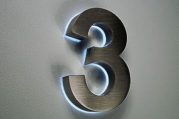 HAUSNUMMER EDELSTAHL Nr.3 / H18cm / V2A / beleuchtet / LED weiss ...