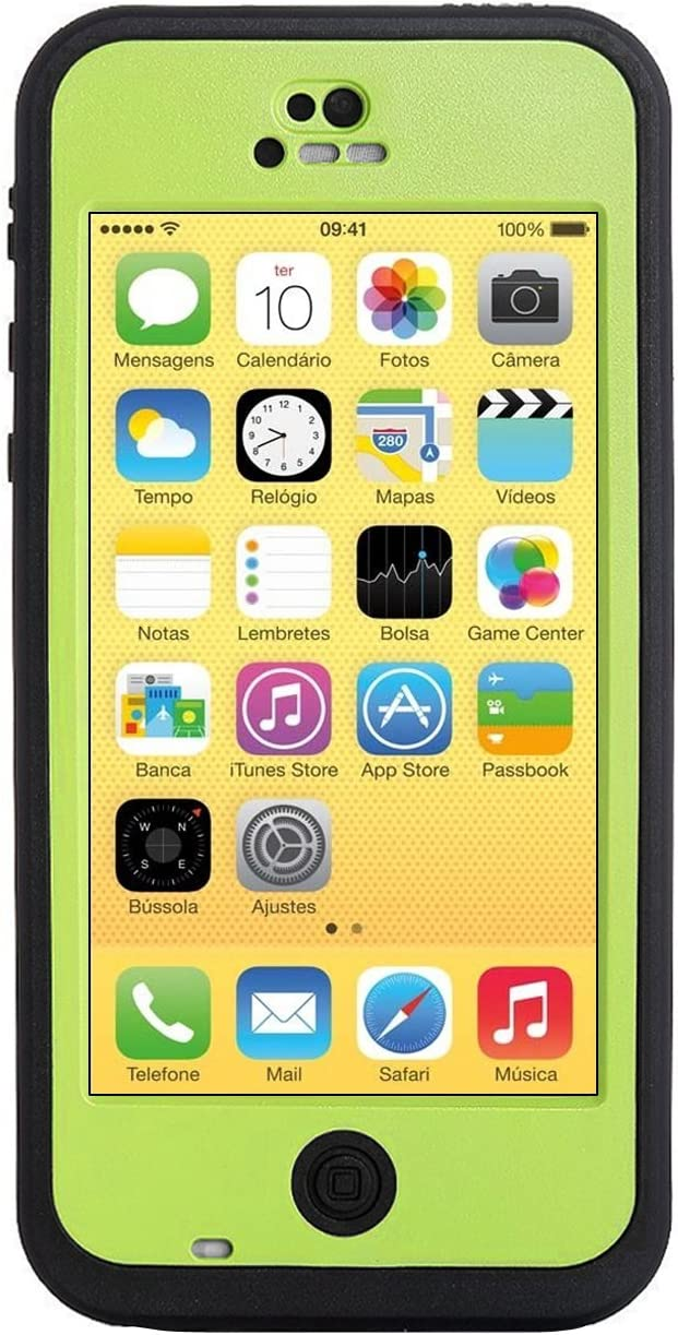 HESGI New Waterproof Shockproof Dirtproof Snowproof Protection Case Cover Only for Apple iPhone 5C Grow Green