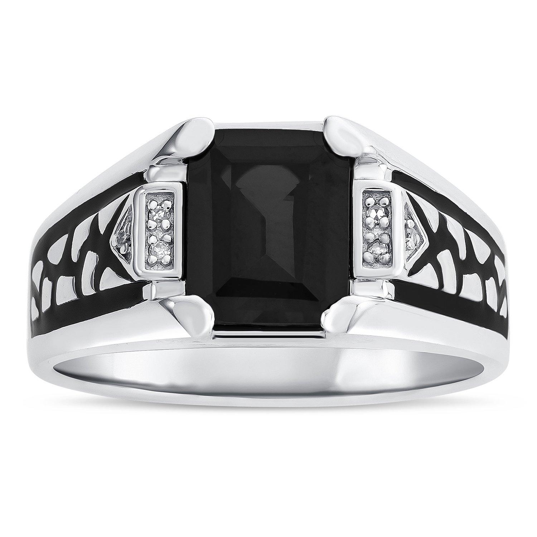 Men's Black Onyx Birthstone Ring in Sterling Silver - Size 11