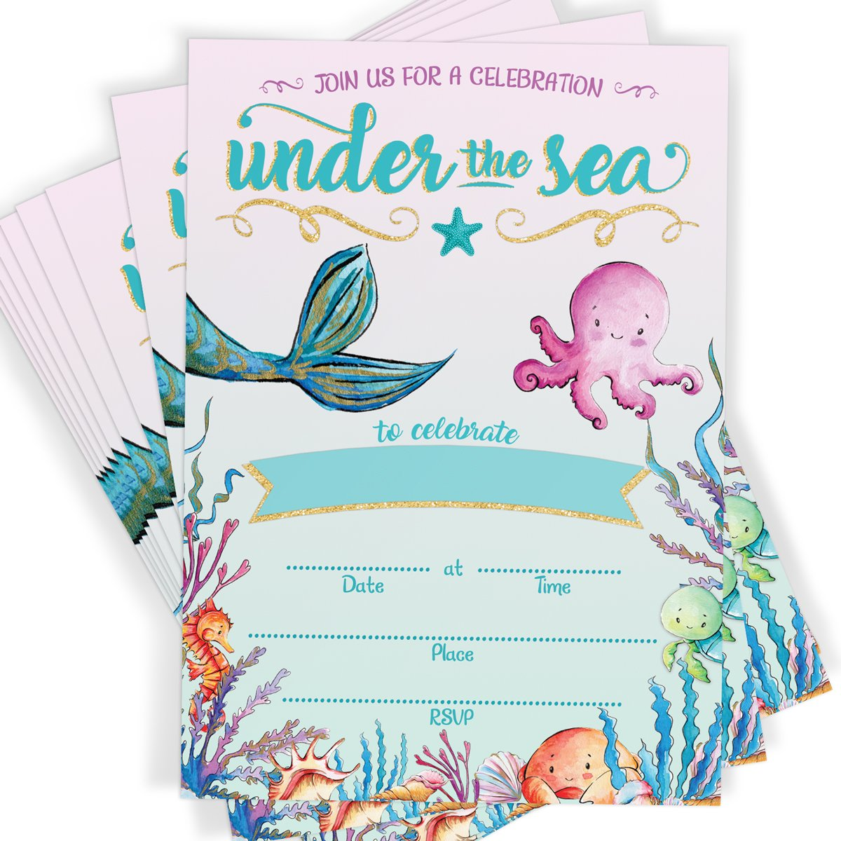 Mermaid Invitations | Under The Sea | 16 Invitations and Envelopes | Mermaid Party by Printed Party