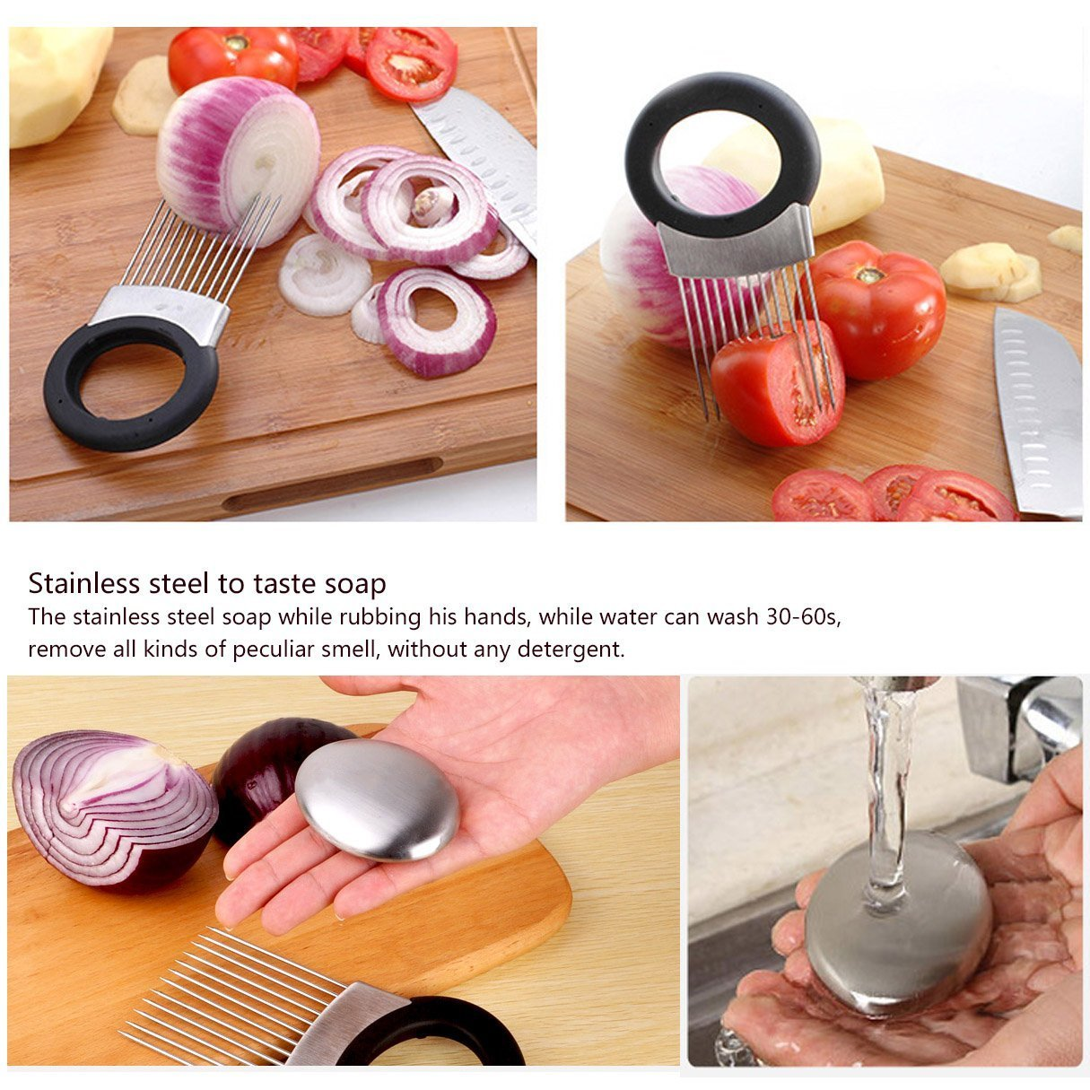 EVINIS Onion Holder Vegetable Potato Cutter Slicer Gadget Stainless Steel Fork Slicing Helper Kitchen Tool Aid Gadget Cutting Chopper,with Finger Guard Finger Protector by EVINIS (Image #9)