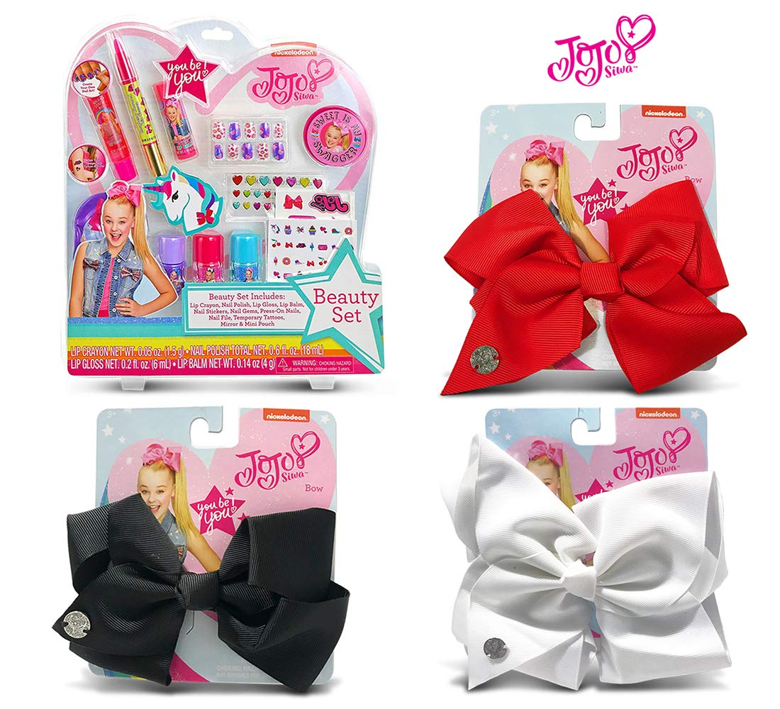 Warp Gadgets Bundle - JoJoSiwa Beauty Cosmetic Set and White, Black and Red Basic Bows on Metal Salon Clip (4 Items)