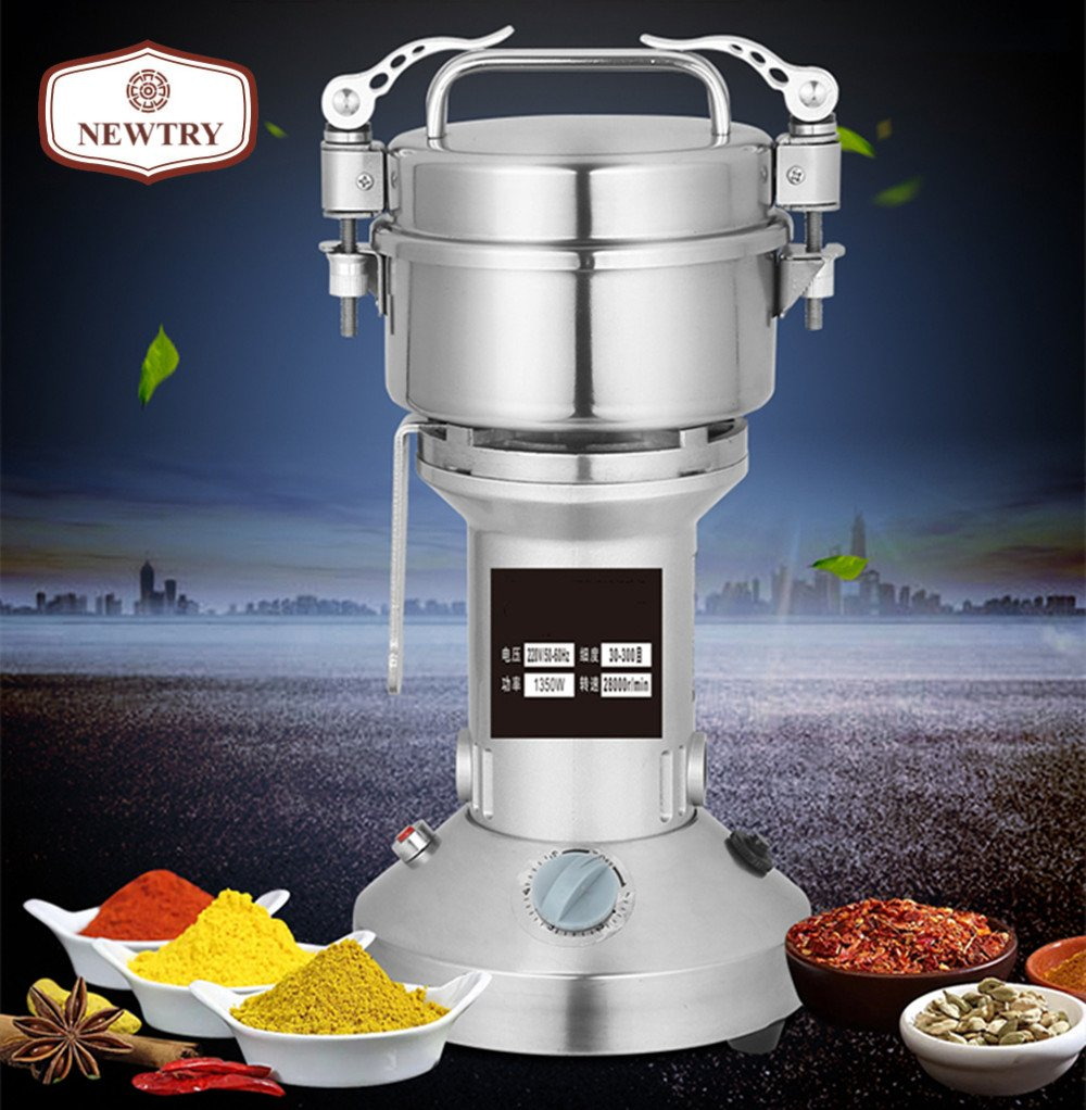 NEWTRY 250g Electric Family Stainless Steel household High-speed Superfine Grinder Food Mill Herb Grinder,Coffee pulverizer For Chinese Medicinal Materials Spice Flavoring