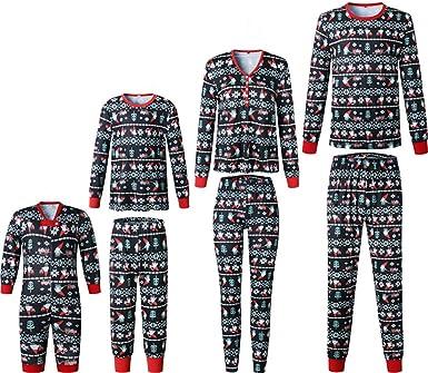 Navidad Pijamas Familia Manga Larga Pantalones Ropa de Dormir para Madre Padre Niños Bebe
