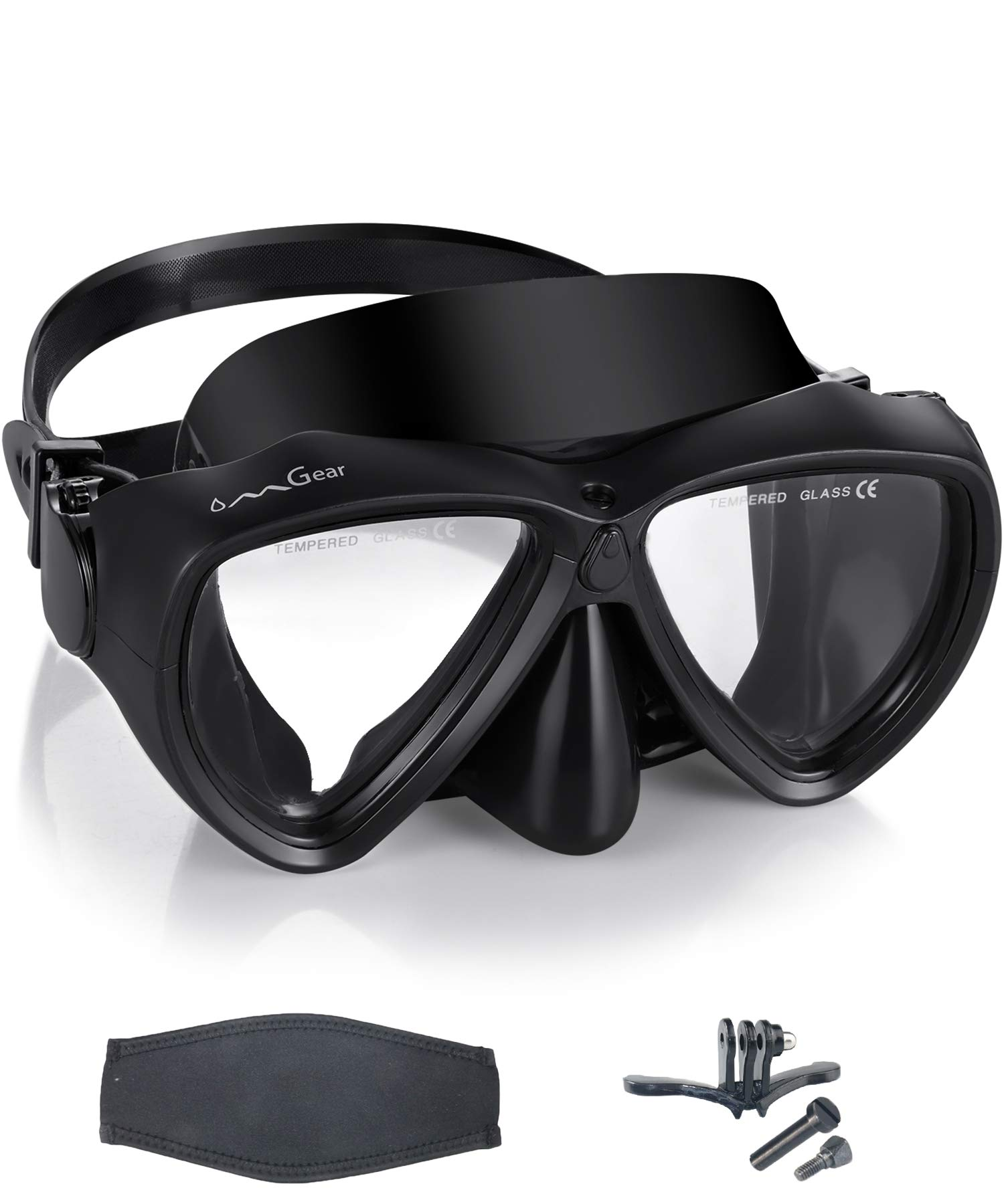 OMGear Scuba Diving Mask Low Volume Frameless Snorkeling Mask Anti-Fog Leak-Free Premium Silicone Dive Goggles with Neoprene Mask Strap for Freediving Spearfishing Swimming (Black with Camera Mount) by OMGear