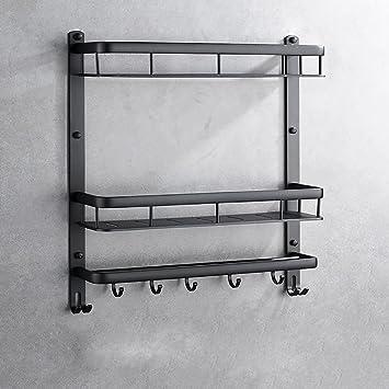 Toallero Perchero de baño de aluminio de espacio negro sin ...
