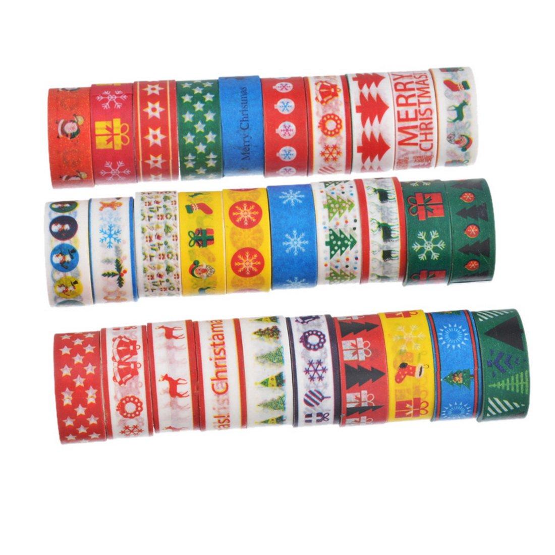 Souarts Style Noël Ruban Adhésif d'emballage Décoratif en Papier Couleur Aleatoire 15mm 5 Rouleaux Hellocrafts