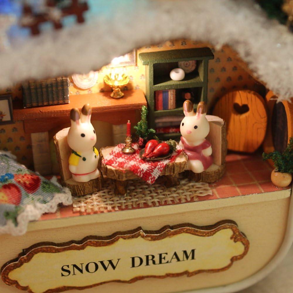 HEEPDD Kinder DIY Spielzeg,DIY Mini H/ölzernes Puppenhaus Miniaturen 3D Puzzles DreamHouse Handgemachte Miniatur mit M/öbeln LED Geburtstagsgeschenk Hausaufgaben Wald