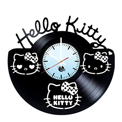 Hello Kitty Handmade Vinyl Record Wall Clock Fun gift Vintage Unique Home dec.