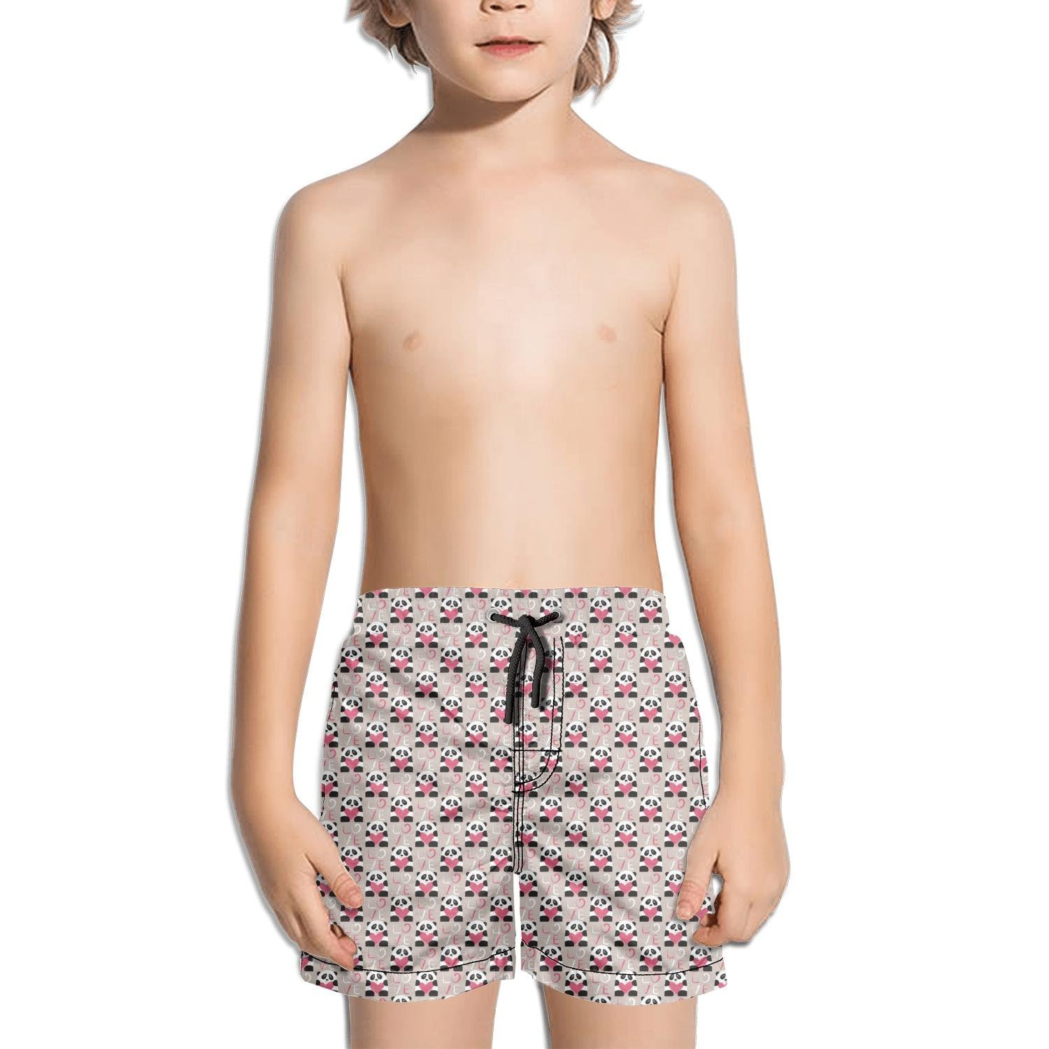 Ina Fers.Youth Quick Dry Swim Trunks Love Panda Bear and Red Heart Shorts