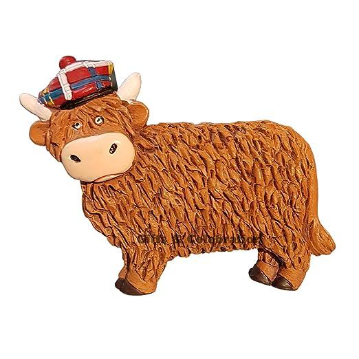 Escocia Imán para nevera - Highland Vaca con gorro, tartán ...