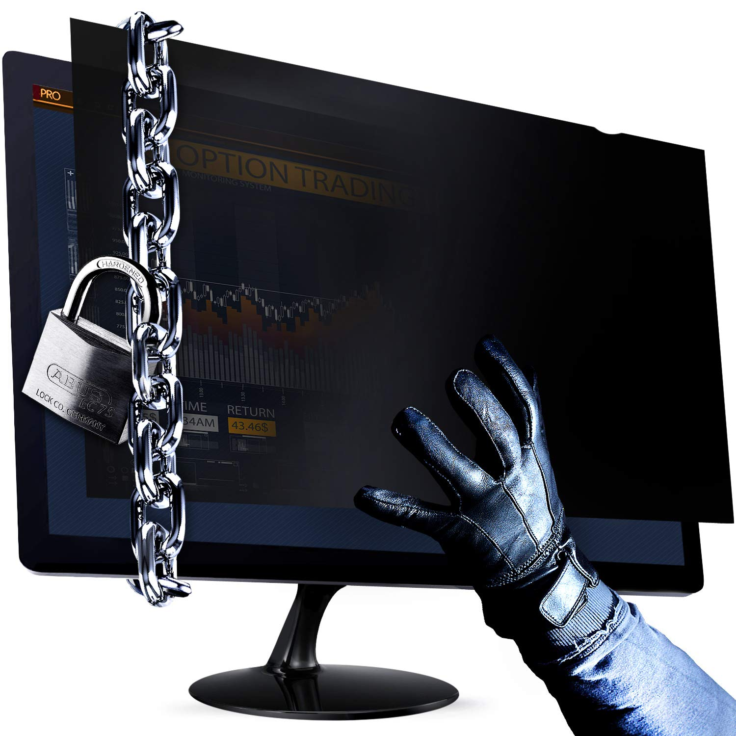 """24 Inch 16:10 Aspect Ratio Computer Privacy Screen Filter for Widescreen Computer Monitor - Anti-Glare - Anti-Scratch Protector Film for Data confidentiality - We Offer 2 Different 24"""" Aspect Ratios!"""