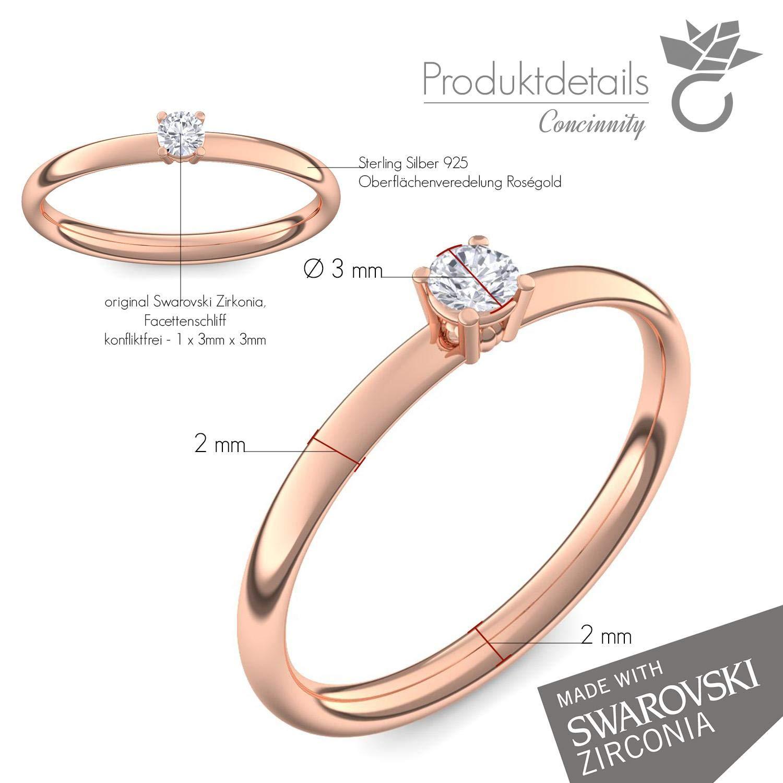 Compromiso anillos de oro rosa de oro Swarovski piedra + estuche! Oro rosa anillo circonios tales como el diamante de regalo anillos matrimonio compromiso ...