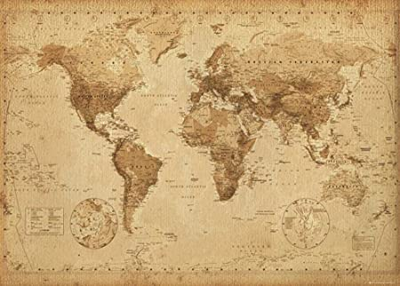 Cartina Geografica Mondo Antica.Poster Gigante In Stile Antico World Map Antique Maxi Poster 140 X 100 Cm Amazon It Casa E Cucina