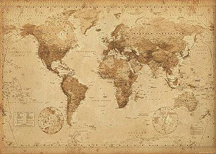 Poster Cartina Geografica Mondo.Mappa Del Mondo In Stile Antico Poster Gigante Dimensioni 140 X