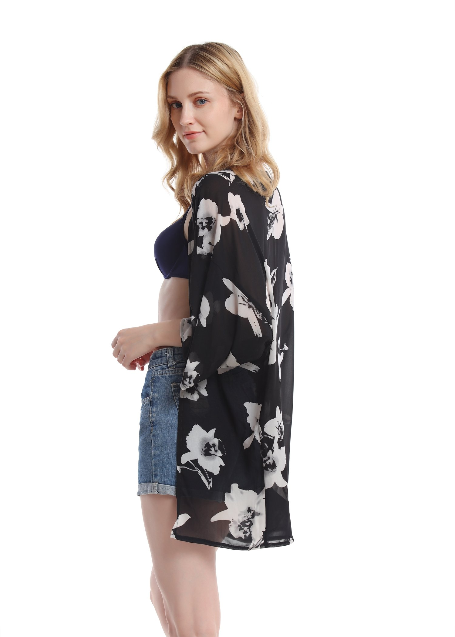 Women's Floral Chiffon Kimono Top - Ladies Sheer Flower 3/4 Sleeves Beach Cover Up for Bikini,Beachwear and Cardigan(Black&White,XL) by soul young (Image #4)