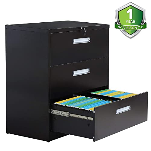 2 Drawer lateral File Cabinet Locking Filing Cabinet 3 Drawers Metal Organizer Heavy Duty Hanging File Office Home Storage 3 Drawer-Black W Handle