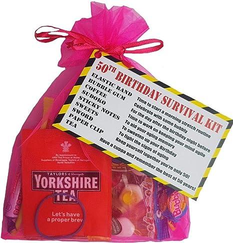 Pink 50th Birthday Survival KIT Gift Present