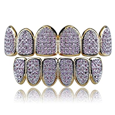 Amazon.com  JINAO 18k Gold Plated All Iced Out Pink Rhinestone Gold Grillz  Set for Women with Extra Molding Bars  Jewelry 50fa5a8128