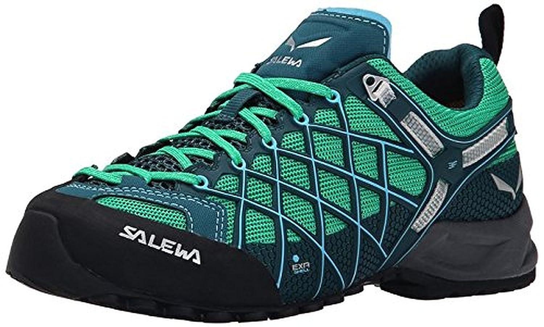 Salewa Women's Wildfire S GTX Shoes Cypress / River Blue 7.5 & Etip Lite Gripper Glove Bundle