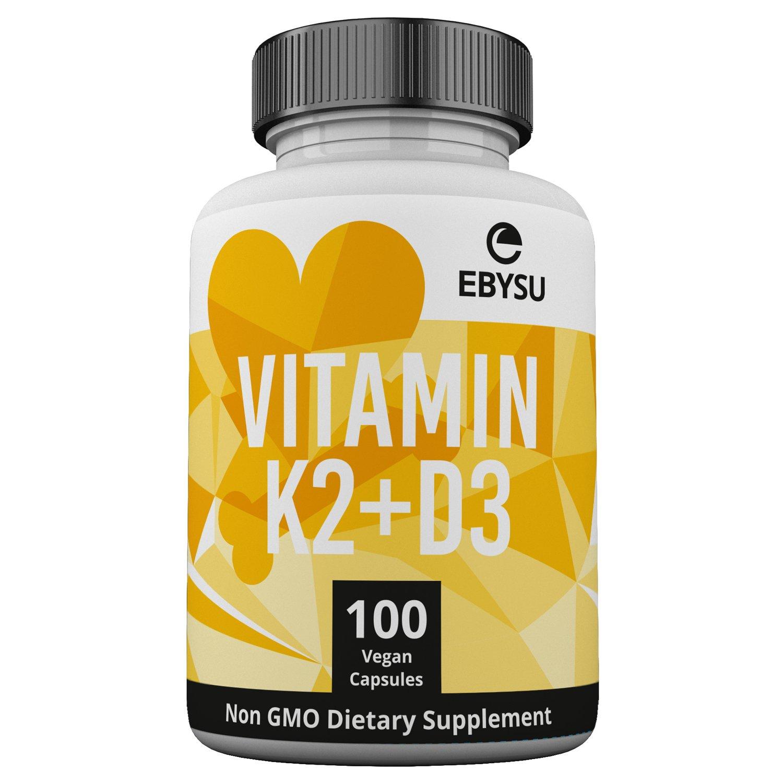 EBYSU Vitamin K2 (MK7) & D3 Supplement - 100 Day Supply 6000 IU Vitamin D3 & 100 mcg Vitamin K2 MK-7 Max Strength Complex - Bone & Heart Health Formula with Bioperine - Non-GMO Vegan Capsules