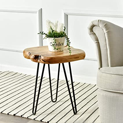 Amazon Com Welland Live Edge Side Table With Hairpin Legs Natural
