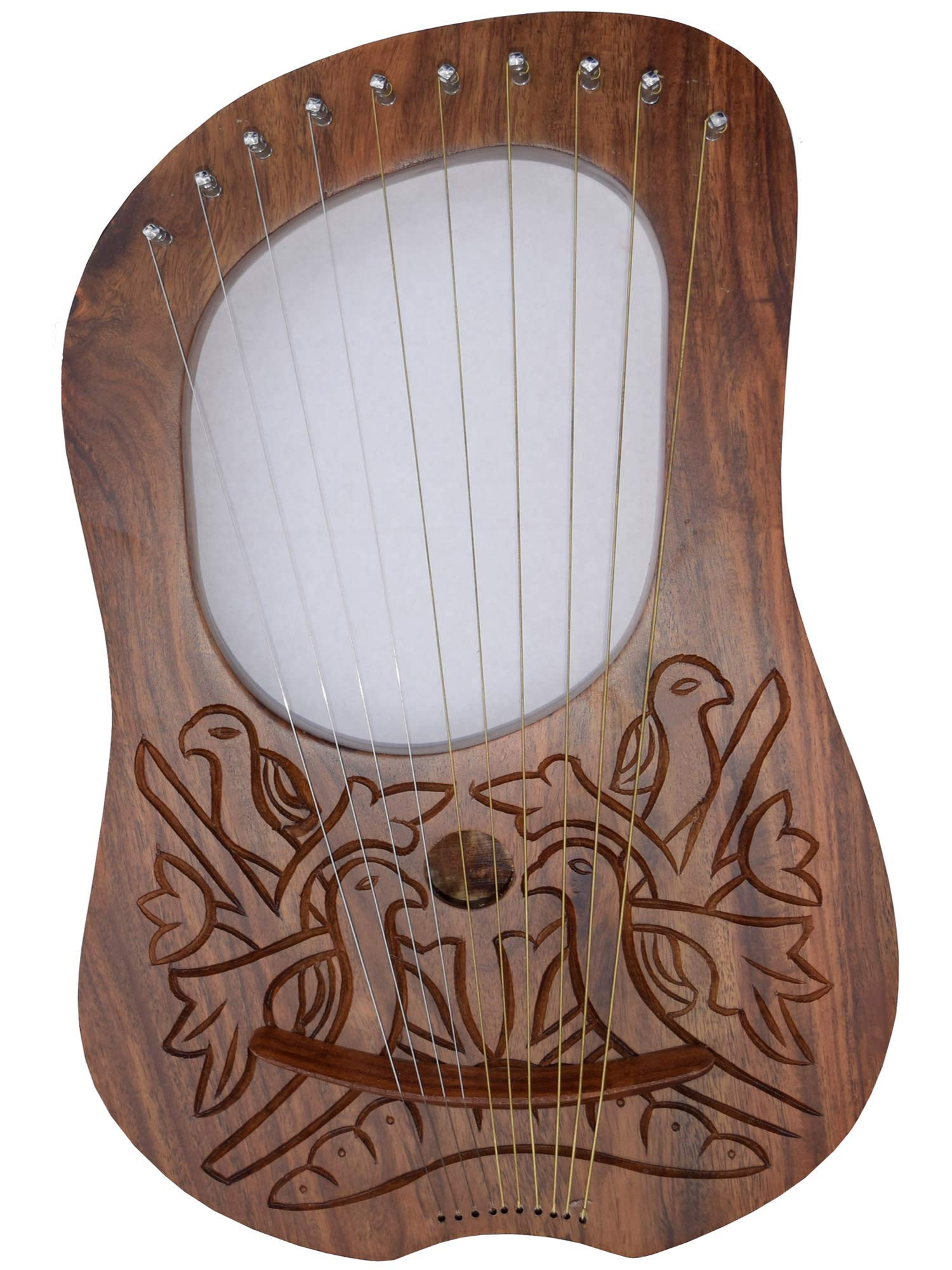 B New AAR Lyre Harp 4 Birds Rosewood 10 Strings Hand Engraved/Lyra Harp Rose Wood/Harfe With Carrying Case & Tuning Key