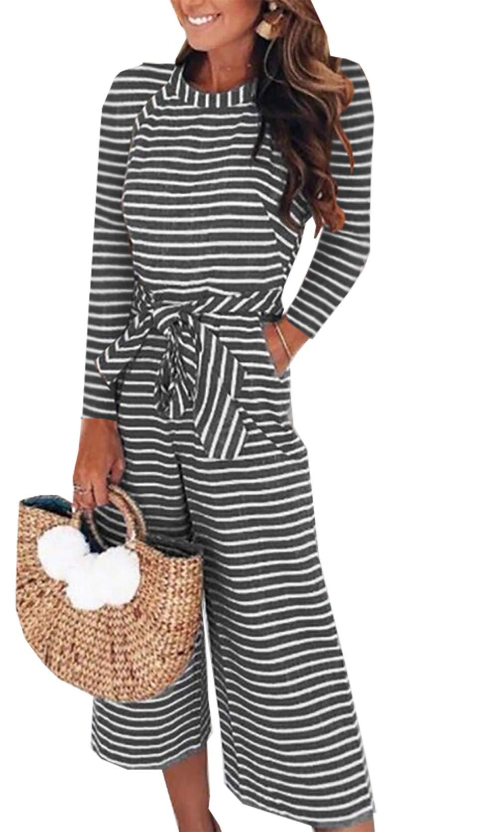 PRETTYGARDEN 2018 Women's Striped Sleeveless Waist Belted Zipper Back Wide Leg Loose Jumpsuit Romper with Pockets (Q_Black, Medium)