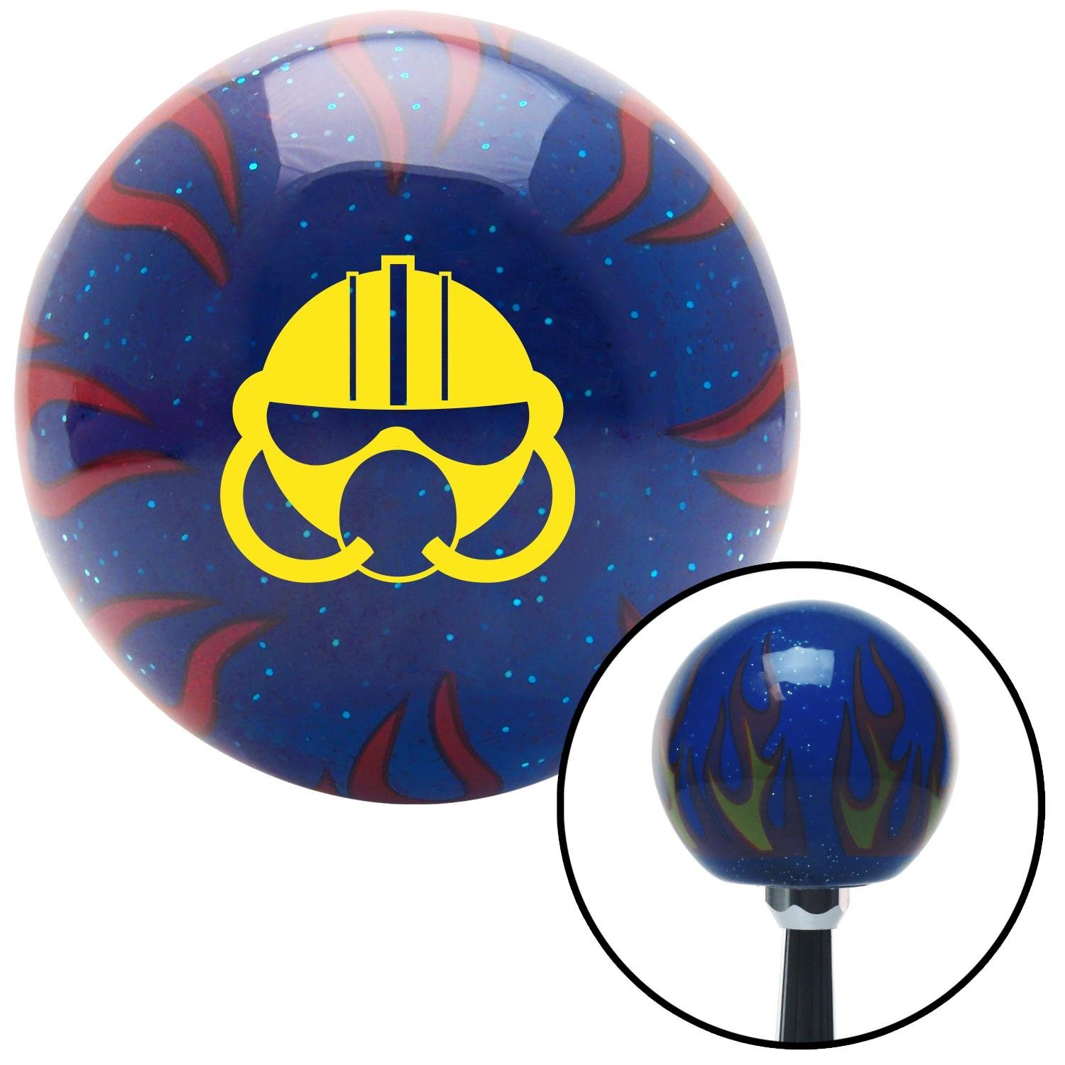 American Shifter 246600 Blue Flame Metal Flake Shift Knob with M16 x 1.5 Insert Yellow Gas Mask