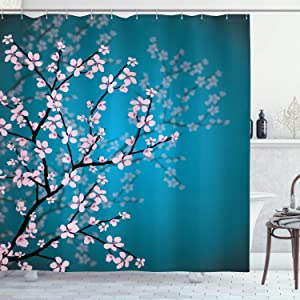 "Ambesonne Japanese Shower Curtain, Spring Season Sakura Bloom Design Marine Toned Ombre Background, Cloth Fabric Bathroom Decor Set with Hooks, 70"" Long, Petrol Blue Pale Pink"