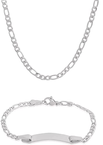 EDFORCE 20 inch Women s Stainless Steel Silver Figaro Link Chain Necklace  with Matching Figaro Link Chain 76df2b2371