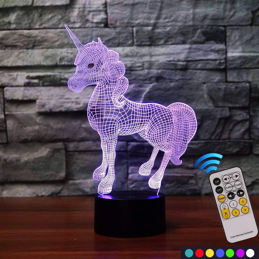 Carryfly Unicorn Night Light Kids Night Light Optical Illusion 7 Colors Change with Remote Birthday Gifts for Baby Amazing Light (Unicorn)