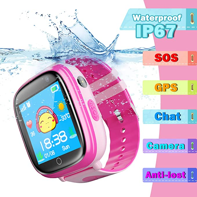 Kids SmartWatch Phone GPS Tracker - IP67 Waterproof Smartwatches with SOS Voice Chat Camera Flashlight Alarm Clock Digital Wrist Watch Smartwatch ...