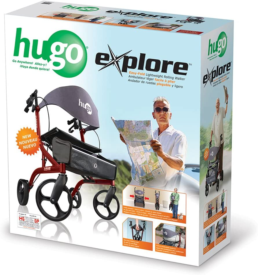 Hugo Mobility Explore Side-Fold Rollator Walker with Seat, Backrest and Folding Basket, Garnet Red