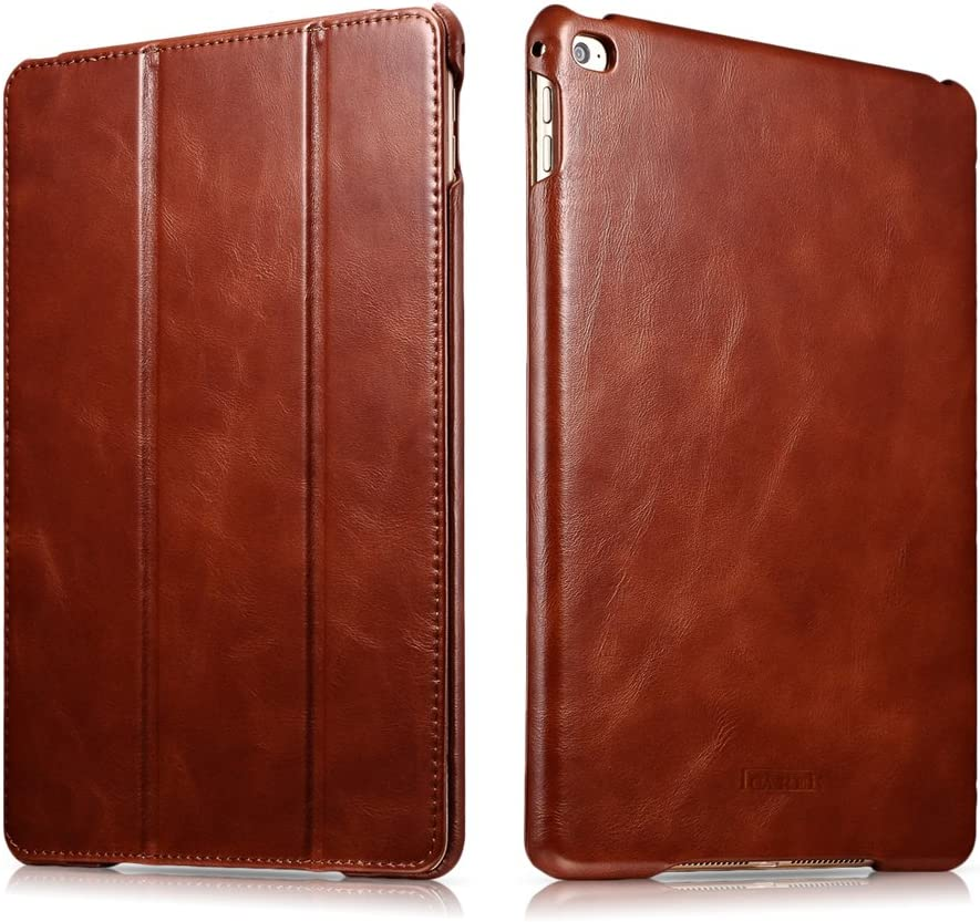 icarercase Vintage Series Leather Folio Flip Magnetic Latch Kickstand Case for Apple iPad Air 2/ iPad 6 - Brown