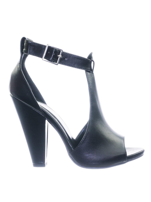 93d20f23fe0 Aquapillar Taper Block Heel Peep Toe Double Open Shank D'Orsay Pump w Ankle  Strap