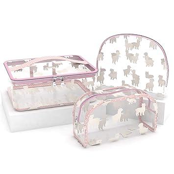 Amazon.com: Juego de 3 bolsas de cosméticos transparentes ...