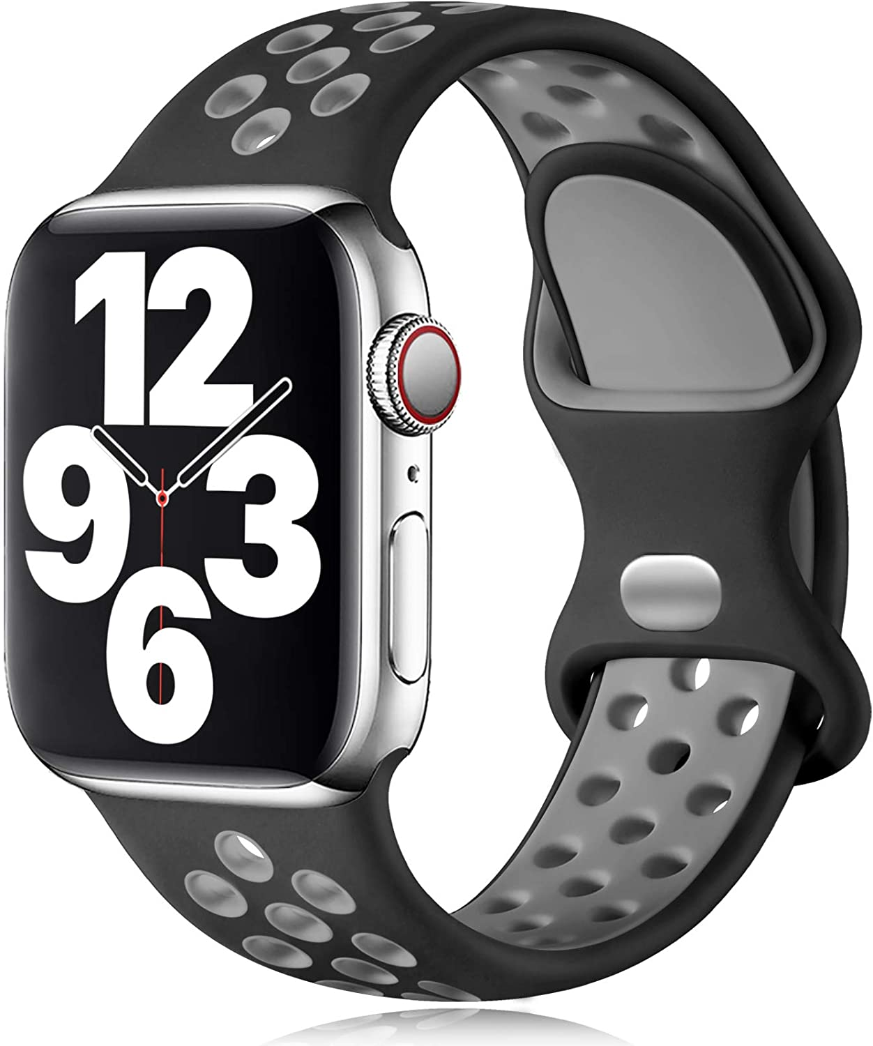 Vcegari Compatible with 38mm Apple Watch Band Women, iWatch 40mm SE Band Womens, Breathable Silicone Replacement for iWatch Series 6 5 4 3 2 1, Black/Gray S/M