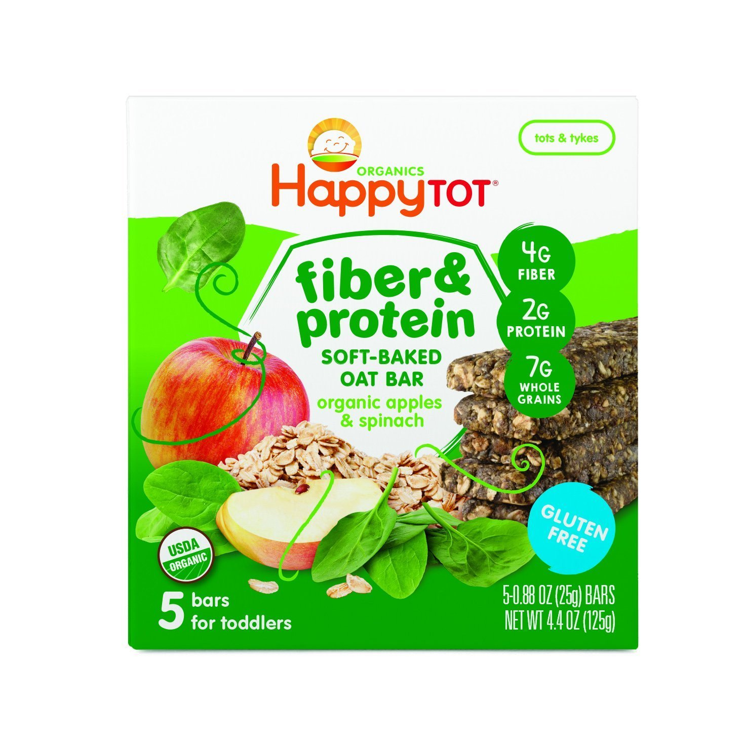 Happy Tot Organic Fiber & Protein Soft-Baked Oat Bars, Organic Toddler Snack, Apple & Spinach, 5 Count Happy Baby