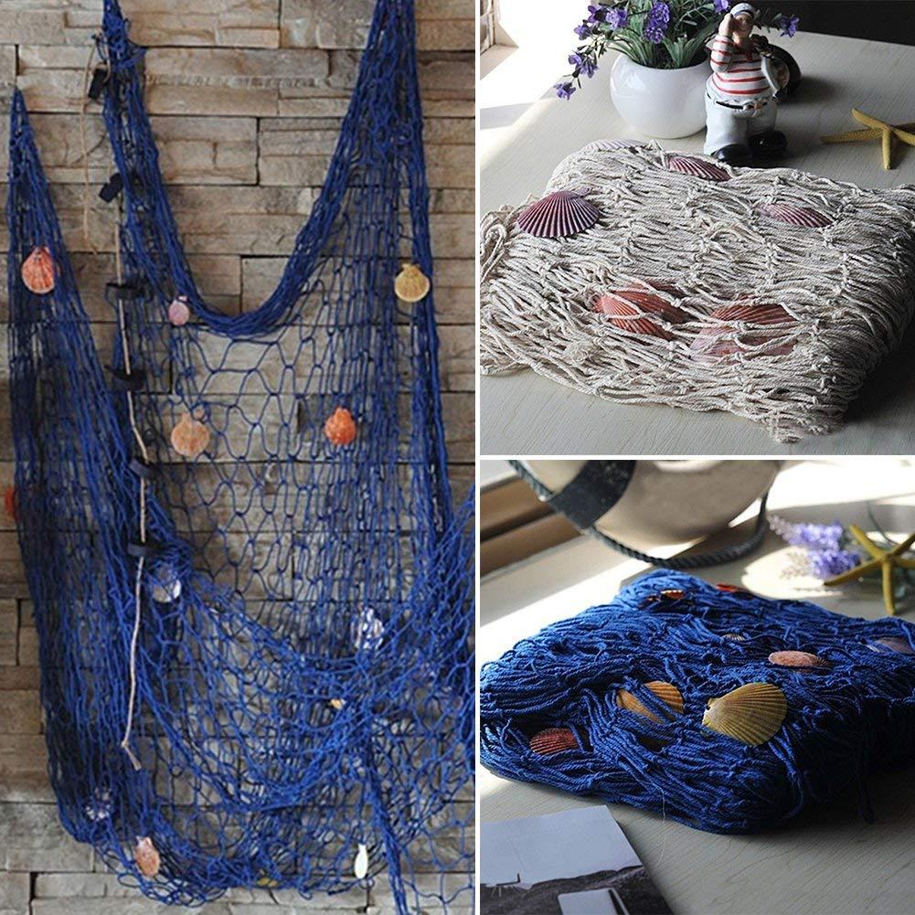 Blu free size Decorativo Rete da Pesca Nautica Mare Oceano con Guscio Mediterranea Stile per Pirata//Mare Spiaggia Festa Tema da Parete Arredamento - Beige