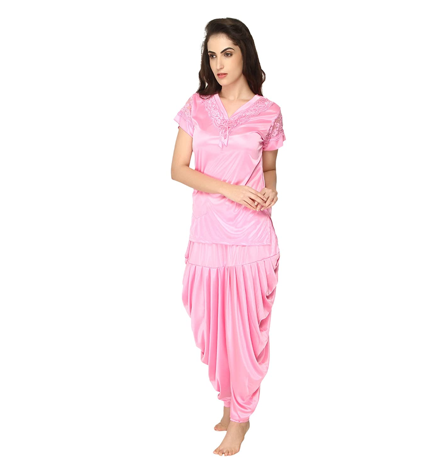 a2c6d841b51 Pretty Awesome Women s Satin Patiala Night Suit  Amazon.in  Clothing    Accessories