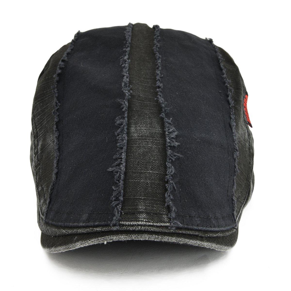 7debb159ca7 VOBOOM 100% Cotton Distressed Ivy Caps Newsboy Caps Cabbie Hat Gatsby Hat  (Black) - BDMZ101-Blk   Newsboy Caps   Clothing
