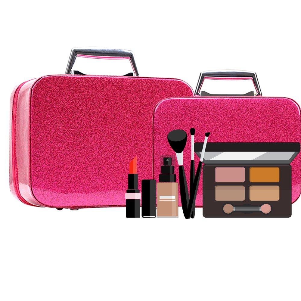 0c96e508549e Glitter Makeup Organizer for Women/Girls, Cute Bling Lighted Korean Pink  Makeup Brush Bag with Mirror,...