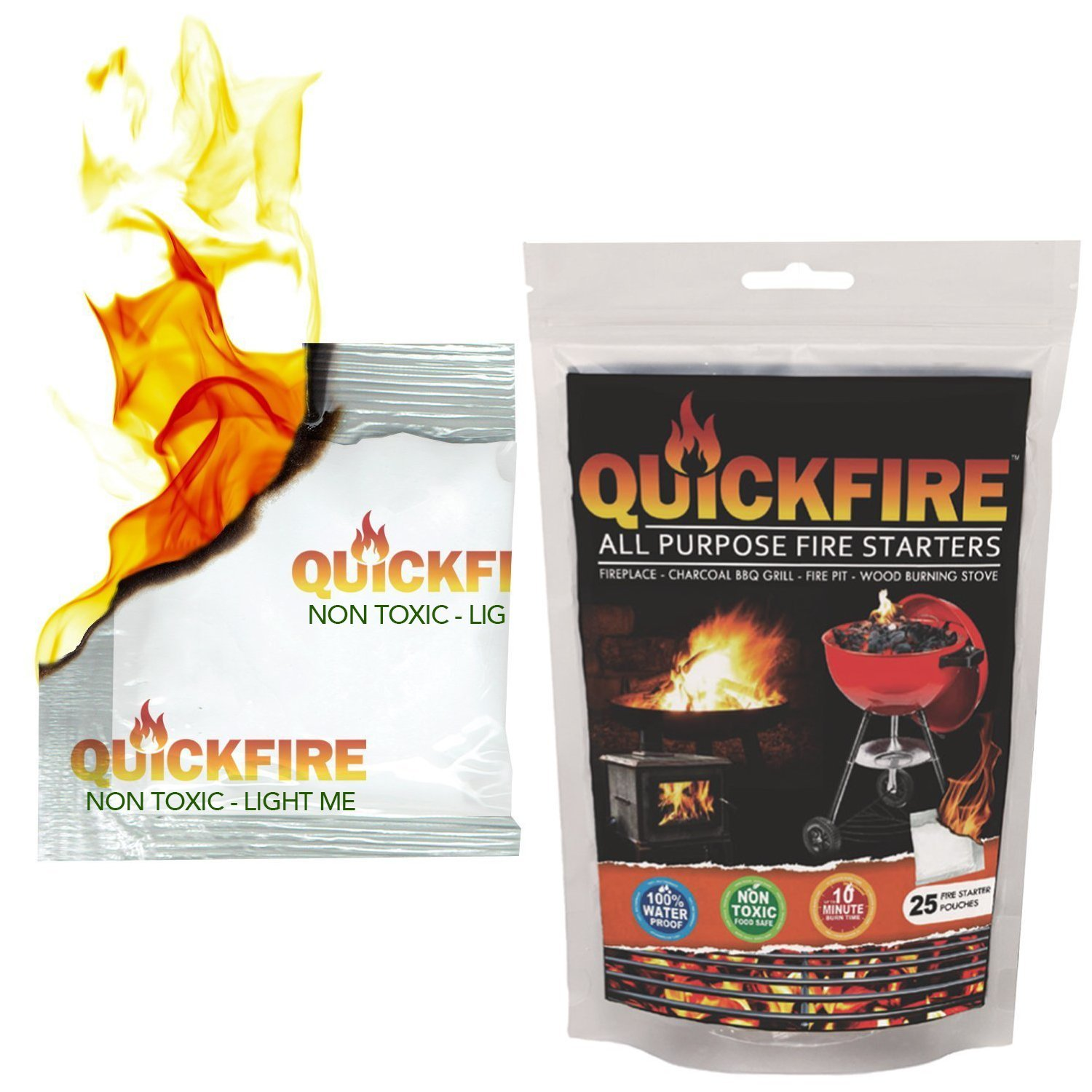 QuickFire - FireStarters. Burns up to 10 Min at over 750° - 100% Waterproof, Odorless And Non-Toxic - 25 Pack
